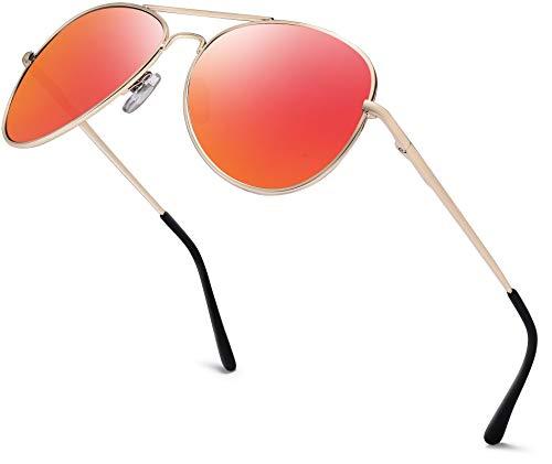 Herren Pilotenbrille Verspiegelt | Damen Sonnenbrille | Unisex Brille mit Federschrnier | UV400 Schutz Filter Kat. 3 CE (82 | Rahmen Gold - Glas Orange verspiegelt)