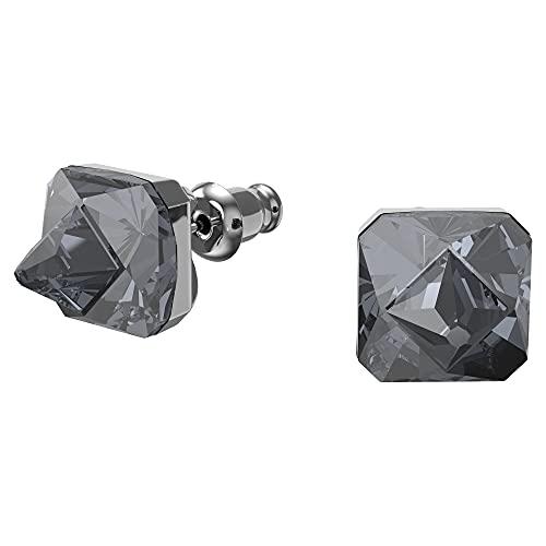 Swarovski Pendientes stud Chroma, Cristales de talla piramidal, Gris, Baño de rutenio