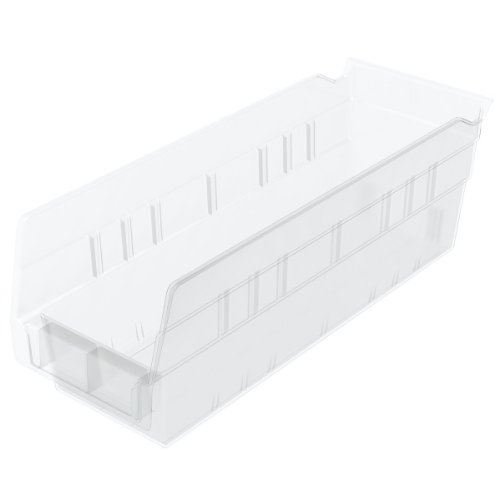 Akro-Mils 30120 Plastic Nesting Shelf Bin Box, (12-Inch x 4-Inch x 4-Inch), Clear, (24-Pack)
