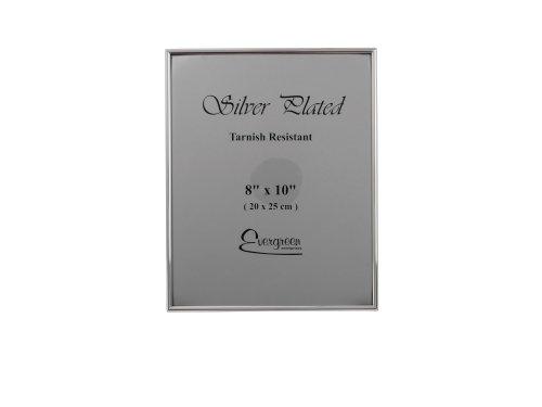 EverGreen - Cornice portafoto placcata in Argento Inossidabile, Bordo Stretto, 20 x 25 cm