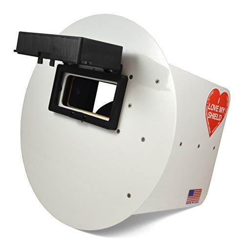Wendy's Pancake Welding Hood Helmet w/Strap - Right Handed - White FLIP UP Lens