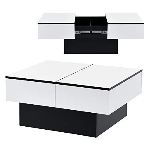 [en.casa] Couchtisch mit 2 integrierten Staufächern aufziehbare Tischplatte Wohnzimmertisch mit Truhenfunktion Kaffeetisch Sofatisch Schwarz/Weiß