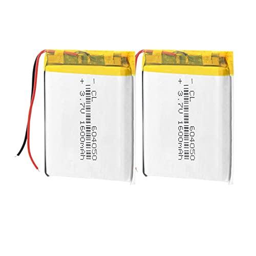 zhoudashu Batería De PolíMero De ión De Litio De 3.7v 1600mah 604050, Recargable con Protección De Carga PCB 2pieces