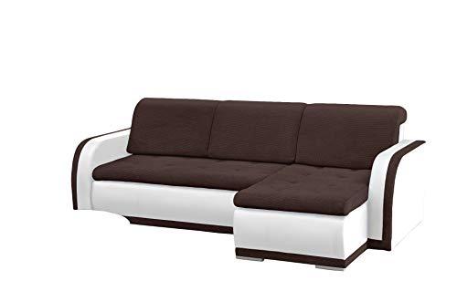 mb-moebel kleines Ecksofa Sofa Eckcouch Couch mit Schlaffunktion und Bettkasten L-Form Polstergarnitur große Farbauswahl - VERO I (Ecksofa Rechts, Braun +...