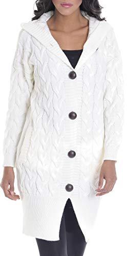 Leif Nelson Damen Strick-Jacke Frauen Basic Freizeitjacke mit Kapuze Damen Hoodie Sweatjacke Das Beste in Kleidung Damen LN10190 Größe M, Ecru