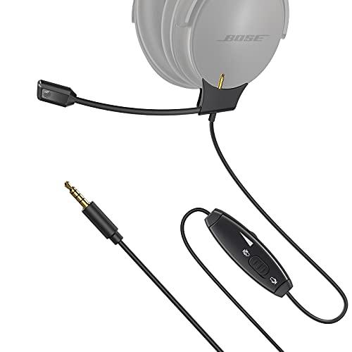 FULAIM Micrófono Boom para Auriculares Bose QuietComfort 35 (QC 35) y Quiet Comfort 35 II (QC35 II) con Control de Volumen e Interruptor de Silencio para PC, PS4 PS5 Xbox One Controller