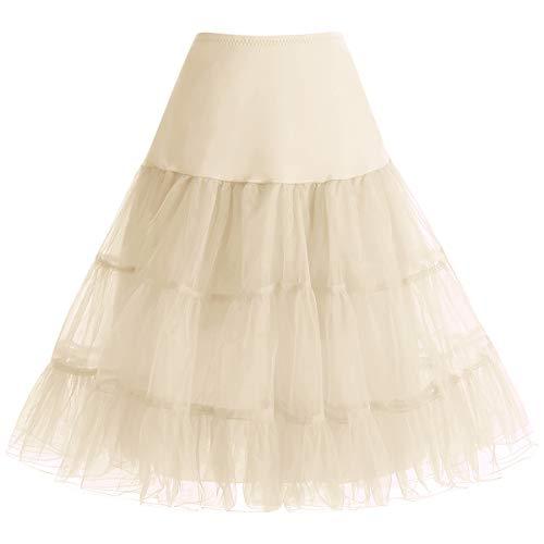 Bbonlinedress Petticoat Unterrock Crinoline Underskirt Reifrock Rock für 50er Vintage Cocktailkleid Champagne M