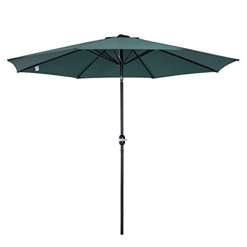 Outsunny Parasol Grande de Jardín Sombrilla para Exterior Desmontable Ángulo Regulable y Manivela de Apertura Fácil Φ300x245cm Verde