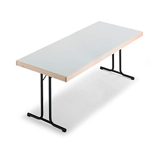 Tables pliantes - piétement en T - 1500 x 800 mm, piétement anthracite, plateau gris clair - Table Table pliante Tables Tables pliantes Table polyvalente Tables polyvalentes