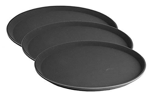 Hillfield® 3er Set Gastro Tablett rund, schwarz - Ø 35,5 cm - antirutsch Kellnertablett - Serviertablett - Gastrotablett - Gläsertablett