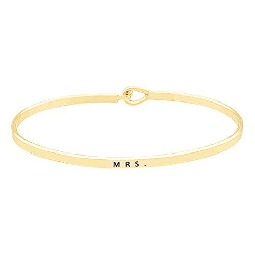 Rosemarie Collections Women's Thin Hook Bangle Bracelet MRS. Shower Gift (Gold Color)