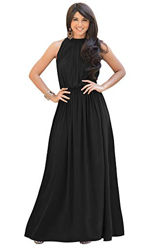 KOH KOH Womens Long Sexy Sleeveless Bridesmaid Halter Neck Wedding Party Guest Summer Flowy Casual Brides Formal Evening A-line Gown Gowns Maxi Dress Dresses, Black M 8-10