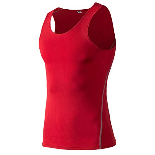 Huaheng Mannen Compressie Basislaag Mouwloos Vest Tank Top Sneldrogende Sport Gym Onder Shirt S Rood