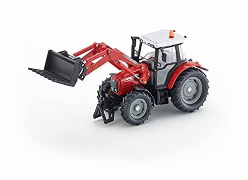 SIKU 3653, Tractor Massey Ferguson con horquilla de carga frontal, 1:32, Dirigible mediante faro giratorio, Metal/Plástico, Rojo