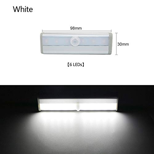 Sensor de Movimiento PIR, luz LED Debajo del gabinete, Encendido/Apagado automático, 6/10 LED, 98/190 mm para Cocina, Dormitorio, Armario, Luces de Noche, 6 LED, Blanco