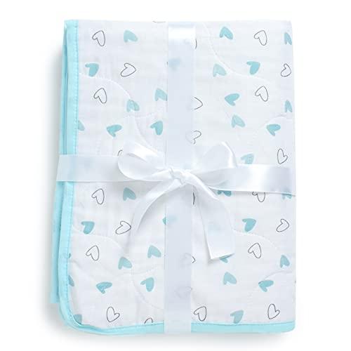The White Cradle Orgánico La más suave manta/colcha para la cuna/camita, con 3 capas de tela suave, diseños reversibles, 2 caras Muselina impresa y centro de franela, 95 x 120 cm - Corazones azules