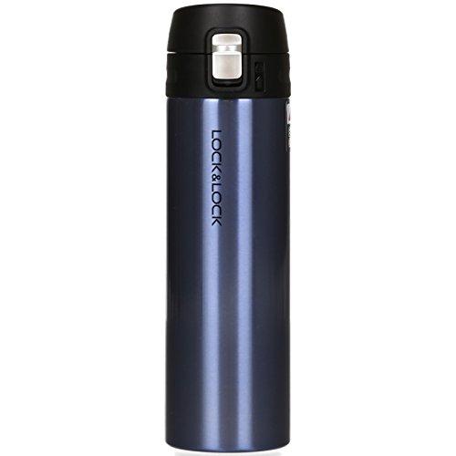 LOCK & LOCK Edelstahl Trinkflasche - NEW FEATHER LIGHT VACUUM BOTTLE - Einhand Thermobecher to go - Vakuum Isolierflasche für Kaffee, Tee u.a. 500ml Sapphire-Blau