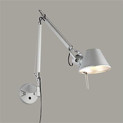 Vintage Loft Wandleuchte mit Schalter, Verstellbare Bedside Wandlampe, Retro Lampe mit Schwenkarm 360°, Metall Lampenschirm, Dekorative Beleuchtung,1-flammig, E27-Fassung, max. 40 Watt (Silber)