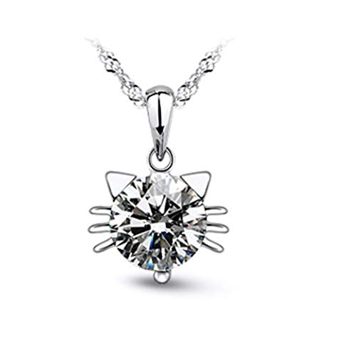Craftuneed zircon cat kitty pendant 925 silver necklace jewellery gift box (white)