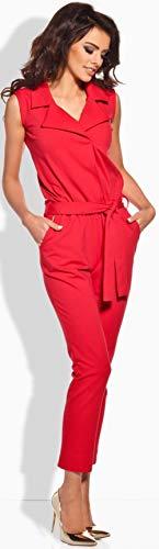 Lemoniade hochwertiger Damen-Jumpsuit mit V-Ausschnitt Hosenanzug rot - 2