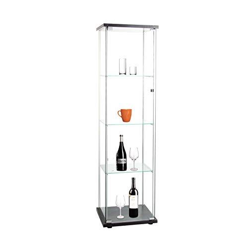 "Beauty4U Curio Cabinets with Glass Doors 4 Shelves Glass Display Cabinet for Living Room, Floor Standing Glass Bookshelf, 64""x 17""x 14.5"", Black"