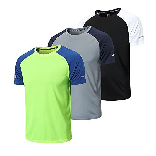 frueo 3 Piezas Camisetas Manga Corta Hombre Camiseta Deporte Hombre de Secado...