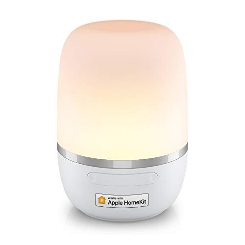Smarte LED Nachttischlampe funktioniert mit Apple HomeKit, Meross Dimmbar Atmosphäre WLAN Nachtlampe für Schlafzimmer Wohnzimmer, kompatibel mit Siri, Alexa, Google und SmartThings, mit USB-Kabel