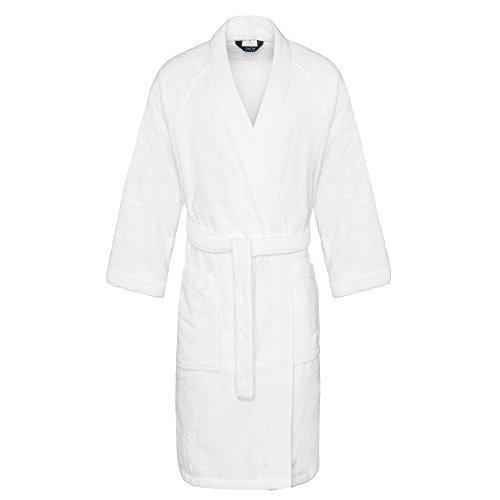 Jalla Kimono Peignoir, Coton Peigné, Blanc, L