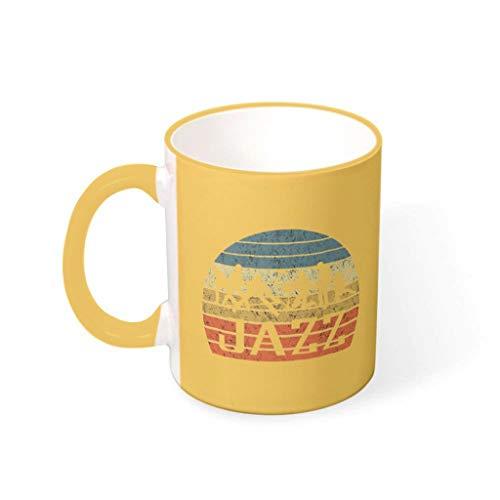 YOUYO Spark Taza de café Jazz duradera de cerámica retro linda – Taza de té para oficina para aniversario Goldenrod 330 ml