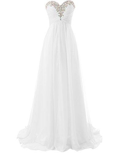 Abendkleider Ballkleider Lang Damen Brautjungfernkleid Festkleider Chiffon A Linie Weiß EUR42