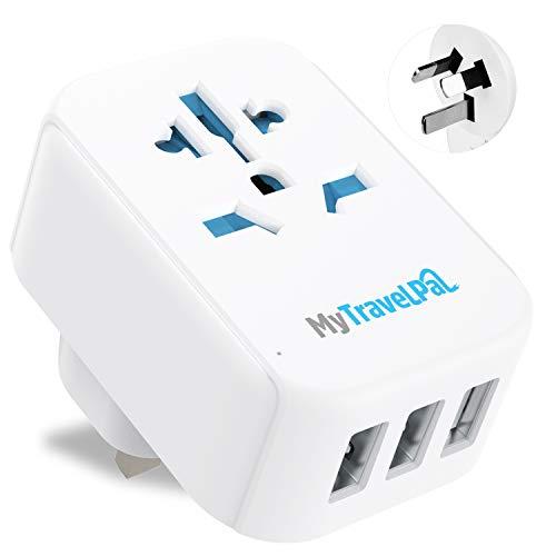 MyTravelPal™ UK auf Australien China Ladegerät & Adapter mit 3 USB-Anschlüssen – sicher & geerdet Typ I Reiseadapter Stecker – Australian Neuseeland Fiji Argentinien