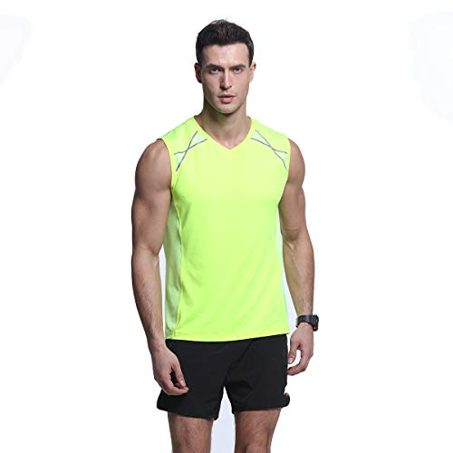 Men's Mesh Slim-Fit Sports Tank Top Quick-Dry Stretchy Workout Running Sleeveless Shirts Green