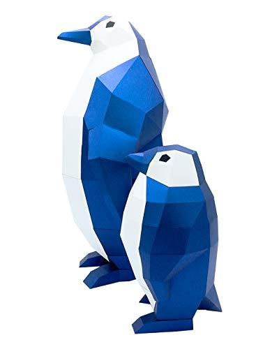 Oh Glam Home Kit DIY Familia de Pingüinos (Grande y Pequeño) Papercraft Kit Trofeo de Pared cartón 3D Escultura Origami 3D Puzzle 3D PRECORTADO