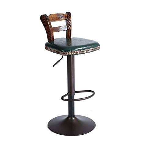 Barstuhl Barhocker Casino American Style Retro Bar Stühle Rotating Chair Lift Sessel Massivholzrückenlehne Barhocker for Familie und Business Office (Color : Dark Green)