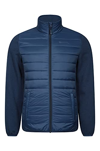 Mountain Warehouse Intrepid Hybrid Mens Padded Jacket - Warm, Lightweight, Breathable, Elasticated Cuffs & Hem Coat - Best for Camping, Outdoors, Travelling & Hiking Azul Marino L