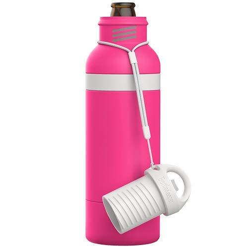 BottleKeeperX 二重壁真空断熱ボトル 栓抜き付き テザーキャップに組み込まれたボトルオープナー付き 12オンス ロングネック ビールを保護 最大6時間保冷 (ピンクシャーベット)