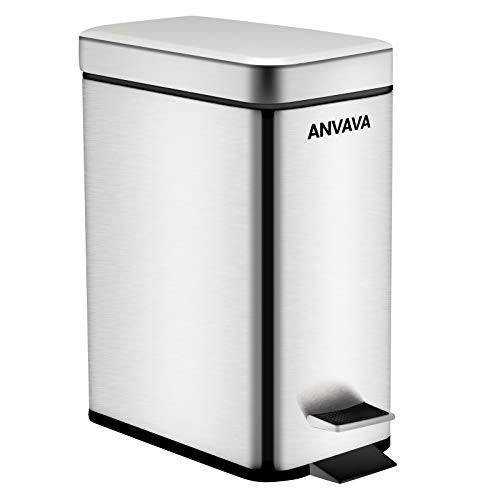 ANVAVA 5 Liter Rectangular Step Trash Can, Stainless Steel Garbage Bin with Removable Inner Bucket for Bathroom, Bedroom, Kitchen and Office