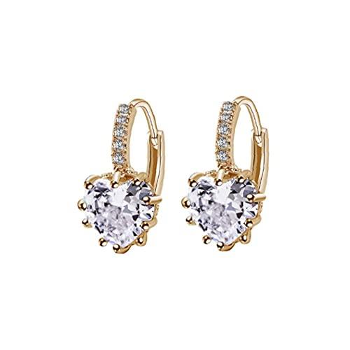 YepYes Pendientes de Forma de corazón Zircon Rhinestone Cuelga Aro del oído Hipoalergénico Mujeres con Encanto joyería de Boda Plateado Tono de Oro