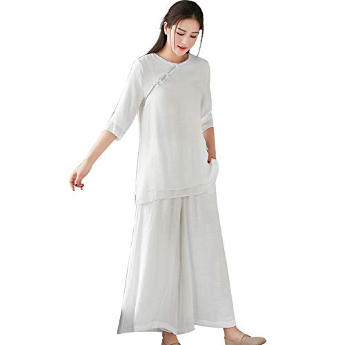KangHan ropa de artes marciales Yoga ropa Meditación Tai Chi placa de ropa botón Han ropa de algodón manga de lino ropa casual ropa L
