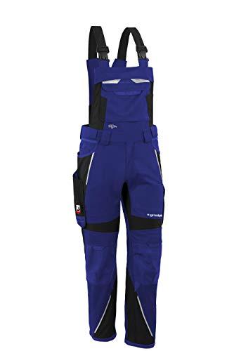 Grizzlyskin Latzhose Iron Kornblau/Schwarz L64 - Workwear Arbeitshose für Männer & Damen, Unisex Blaumann, Codura-Schutzhose mit vielen Taschen