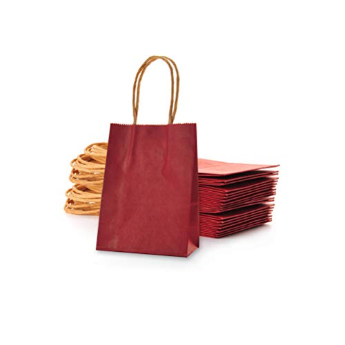 AWELL Small Wine Red Paper Bag with Handle Party Favours Bag 6x4.5x2.5 inch for Chiristmas Wedding Birthday Recycled Bag, Pack of 24