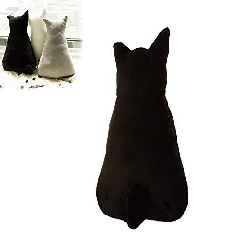 Lustiges Kissen in Katzenform, Plüschtierkissen, Überwurfkissen für Sofa und Stuhl, weiches Plüschspielzeug, Puppen für Heimdkoration, Geschenke für Kinder (schwarz, 45 cm)