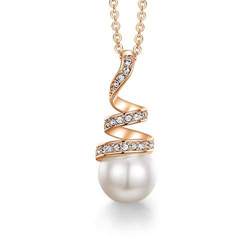 CDE Collar Perla para Mujer con Caja de Joyas para San Valantín