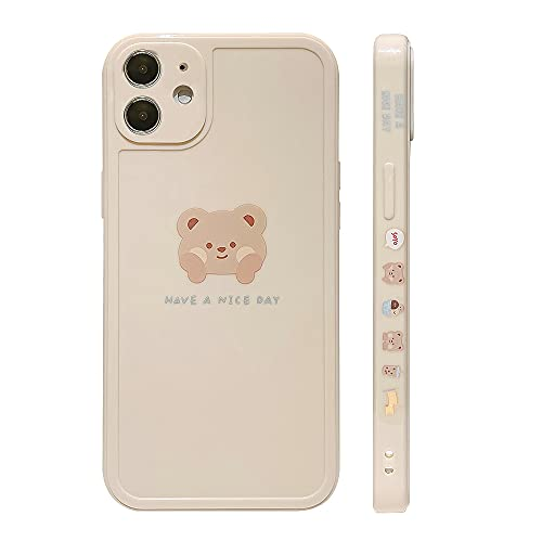 Ownest Compatible with iPhone 11 Case Cute Painted Design Brown Bear with Cheeks for Women Girls Fashion Slim Soft Flexible TPU Rubber for iPhone 11-Beige