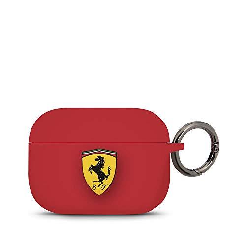 Ferrari - Coque de Protection en Silicone pour Apple AirPods Pro avec Anneau Rouge.
