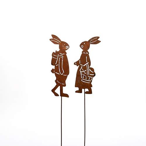 Hase, Hasen; 'Haseneltern'; Metall, Rost; 2 Verschiedene Modelle; 50 cm; Ostern; Gartenstecker, Beetstecker, Blumenstecker