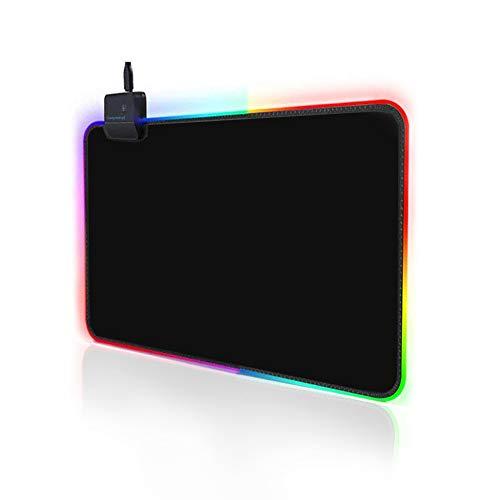 Salandens RGB Gaming, alfombrilla para mouse, RGB mouse pad LED para gamers, 300 x 250 x 3mm con iluminación LED