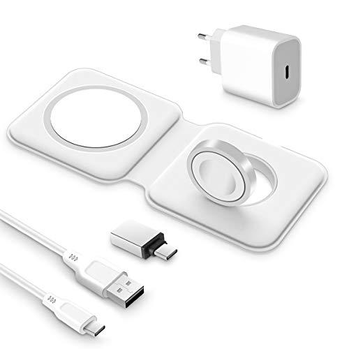 AICase 2 en 1 Chargeur sans Fil Magnétique Chargeur Double, Duo Chargeur à Induction Rapide 15W Compatible avec Phone 12/12 Mini/12 Pro/12 Pro Max Air Pods et iWatch