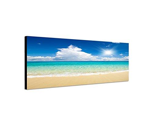 Quadro stampa su tela come Panorama in 150x 50cm sabbia spiaggia mare nuvole sole estivo