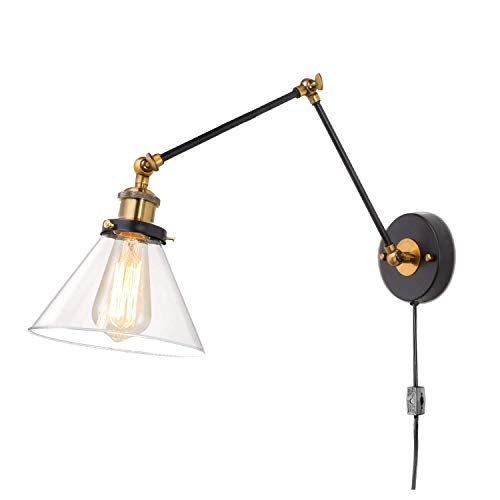 CattleBie Oscilación de la vendimia brazo de pared de la lámpara de lectura de luz Negro, Hardwire o enchufe de pared de luz con interruptor y cable de 1,8 m, persiana industrial luz clara de cristal,